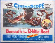 BENEATH THE 12 MILE REEF Title Lobby Card Robert Wagner Cinemascope 1953