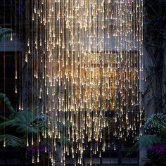 Home Decor Inspiration : Falling rain light exhibit at Longwood Gardens (artist: Bruce Munro) centop Deco Luminaire, Luminaire Design, Home Lighting, Outdoor Lighting, Lighting Ideas, Luxury Lighting, Luxury Decor, Custom Lighting, Outdoor Art