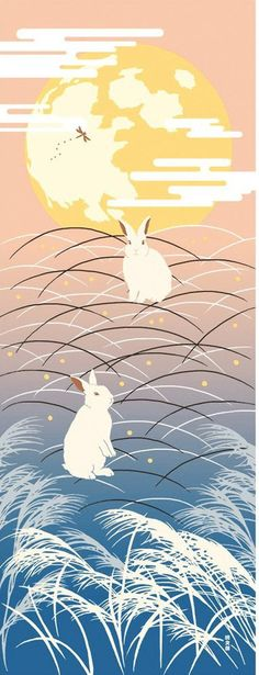 Japanese Tenugui Towel Cotton Fabric, Rabbit & Moon, Kawaii Bunny, Autumn Fabric, Traditional Art Design, Wall Art Hanging, Wrapping, h113
