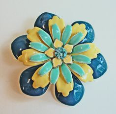 Large 60s Teal Blue and Yellow Flower Brooch  by RetrofitStyle, $22.50