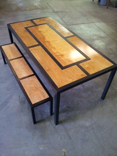 Modern Steel Dining Table or Desk with Wooden by fastlanecustoms, $895.00