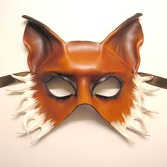Fox leather mask, half face available at my Etsy shop until sold: unisex - for men or women Handcrafted and unique leather masks by Teonova for masquerade, Halloween, Mardi Gras, parties, weddings,...