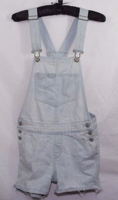 Hollister Overalls Shortalls Destroyed Light Wash XS Girls Juniors  #Hollister #Overalls
