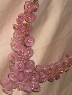 Signed Miriam Haskell Pink Glass Flowers Beads Festoon Necklace