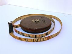 Antique - Vintage The Lufkin Rule Company Leather Covered 100 FT. Cloth - Linen Tape Measure