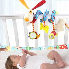 Baby Rattles Infant Doll Baby Crib Stroller Toy Plush Birds Musical Ringing Newborn Bed Dog Hanging Soft Play FL