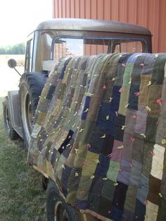 Vintage Patched  Quilt or Blanket Primitive Shabby by 1OutAnAbout, $70.00