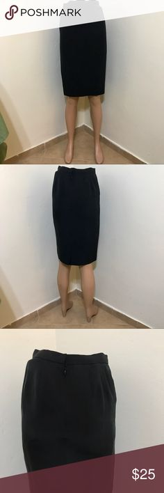 80s Vintage Bergdorf Goodman Black Silk Skirt 8 M Label- Anne Klein sold at Bergdorfs Goodman Plaza Hotel  (Authentic Vintage item from the 80s)  Style- Silk Pencil skirt, back zip,lined, falls above the knee. Sits high on waist. Size-10 but 80s sizes were smaller. This will fit a modern 8 with small waist bigger booty. Shown on a size 6 mannequin. Waist is meant to be worn high.Measurements- W-27 H-38 L-28 Color-Black Fabric- Silk, Silk LiningCondition- Lightly if ever worn. Cost about…