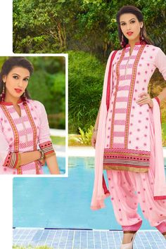 Pink Cotton Cambric Suit With Chiffon Dupatta