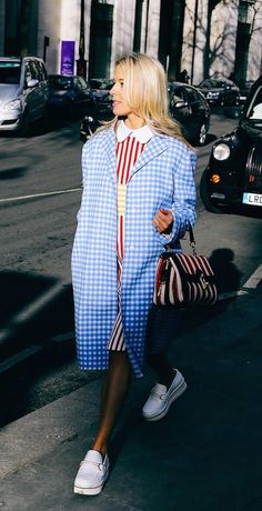 Gingham Prada coat, Dolce & Gabbana bag, Stella McCartney white platform shoes