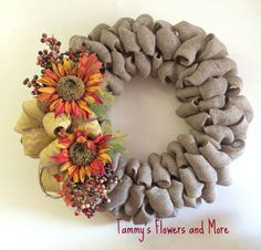Fall burlap Wreath: