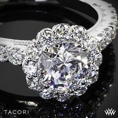 Tacori Full Bloom Round Halo Diamond Engagement Ring #whiteflash