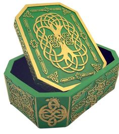 Irish Rosary Relic or Jewelry Keepsake Box with Celtic Christian Symbol Designs