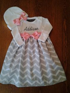 Grey and White chevron and Pink Layette Gown Newborn precious gown Tiffany Baby Showers, Newborn Coming Home Outfit, Grey And White, Shower Ideas, Chevron, Flower Girl Dresses, Gowns, Summer Dresses, Wedding Dresses