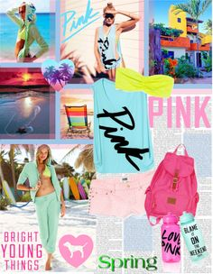 """""""Bright Young Things: PINK Spring Break Style Off!"""" by designsbytraci on Polyvore"""