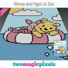 Winnie and Piglet at Sea by Two Magic Pixels Knitting Projects, Crochet Projects, C2c Crochet, Blanket Crochet, Bobble Stitch, Mickey Mouse Clubhouse, Yarn Brands, Love To Shop, Yarn Colors
