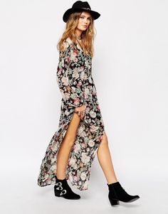 Glamorous Wrap Front Maxi Dress In Floral