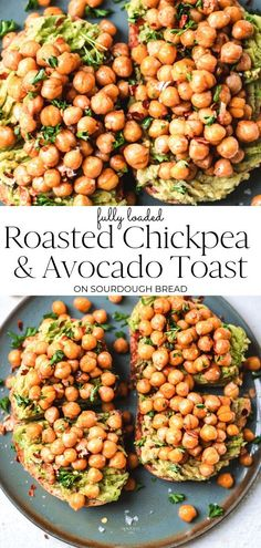 Roasted chickpeas and avocado toast. Quick and easy recipe for ultra gourmet and fully loaded toast. Enjoy for a savoury breakfast, easy lunch or snack. Savory Breakfast, Vegan Breakfast Recipes, Lunch Recipes, Healthy Breakfasts, Dinner Recipes, Easy Vegan Lunch, Best Vegan Recipes, Healthy Recipes, Vegan Comfort Food