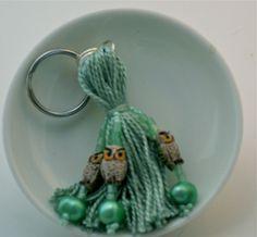 Green Owls Beaded Tassel Keyring by lizbethsgarden on Etsy