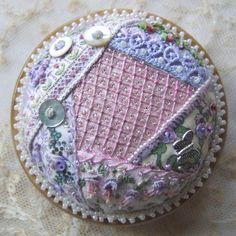 Crazy Patchwork Heirloom Treasure Pink & Mauve - pincushion kit. $44.50, via Etsy.