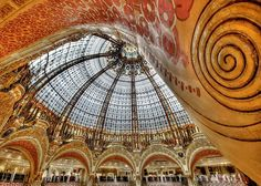 Glass roof in the department store Galeries Lafayette in Paris.