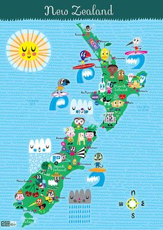 Very bright map of New Zealand that's perfect for kids.  Great to go along with Thriving Family's  FREE Around the World in 60 Days.