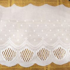 3Yards White Cotton Embroidery Lace Trim for Women's Clothing DIY Width 30cm