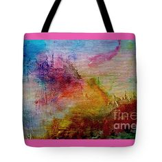 """Digital Sunrise Abstract Watercolor Painting 1a Tote Bag 18"""" x 18"""" by Ricardos Creations"""