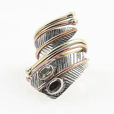 Citrine & Smoky Quartz Three Tone Sterling Silver Adjustable Wrap Ring