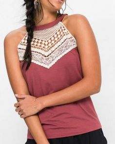 Splicing lace tank top halter neck style for teenage girls