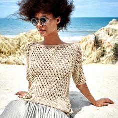 Ажурный джемпер с карманами - Вязаные модели спицами для женщин