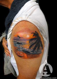 beach tattoo , this w/ born & raised & Florida girl at the bottum Sunset Tattoos, Ocean Tattoos, Love Tattoos, Body Art Tattoos, Foot Tatoos, Rib Tattoos, Tropical Tattoo, Hawaiian Tattoo, Spanish Tattoo