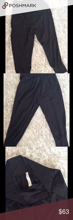 Lululemon Dance to Yoga Harem pants Size 6.  Very lightweight material.  Black.  Crossover pleat in the front.  No pockets.  Double waistband.  Excellent used condition.  Inseam is 23 inches but waist drop is 13 inches. lululemon athletica Pants