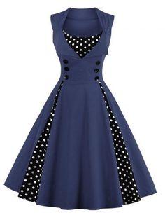 GET $50 NOW | Join RoseGal: Get YOUR $50 NOW!http://m.rosegal.com/vintage-dresses/retro-button-embellished-polka-dot-843253.html?seid=lf11fvro67hf9rvuijg52lafs0rg843253