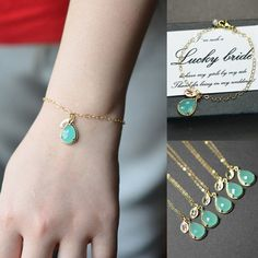 Mint opal green gold Bracelet  ,Bridesmaid Wedding Bridal Bridesmaid Jewelry-Bridesmaid gifts ,personalized bracelet , monogrammed gifts