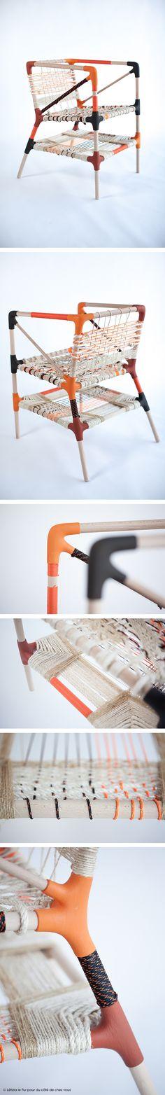 mobilier : néo- artisanal, tissage de cordes et de cordons de fibres naturelles et synthétiques, design Droles d'oiseaux, fauteuil, siège, dccv, diy