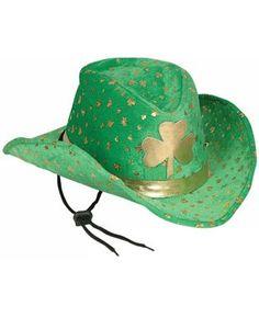 6x COWBOY HAT GREEN WHITE ORANGE ST PATRICKS DAY IRELAND ADULT FANCY DRESS