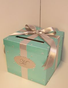 Wedding Card Box Spa Blue/Mint Green and Silver Gift Card Box