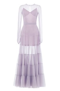 Платье с пышной юбкойярусами в пол из шифона, пышный рукав, шифон серый.