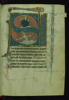 "Biblical Psalter Initial ""S"" with Christ blessing above King David in water Walters Manuscript W.116 fol. 1r by Walters Art Museum Illuminated Manuscripts"
