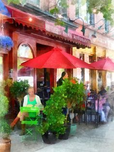 Outdoor Cafe With Red Umbrellas: Fine Art Print by Susan Savad - cafe is in Hoboken, New Jersey.