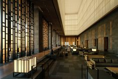 Kerry Hill Architects offers a sensitive interpretation of traditional Japanese architecture in this delightfully dramatic and welcoming hotel. Design Entrée, Lobby Design, Chair Design, Architecture Awards, Interior Architecture, Kerry Hill Architects, Famous Architects, Public Hotel, Most Luxurious Hotels