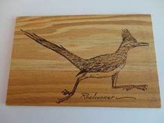 Wooden Postcard with roadrunner on one side.