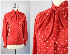 vintage 80s Evan Piccone red blouse with black by PinkhamRoadRetro