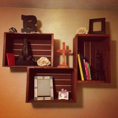 Turn old wooden crates into charming wall decor.