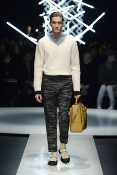Wool two-tone sweater with funnel neckline, high-cuffed jeans and calfskin holdall with asymmetric zip #CanaliFW15 #FW15 #style #mfw #moda #menswear