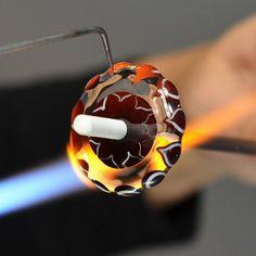 Handmade Glass Lampwork Bead; Fun; Whimsical; Kitty Cat Bead Cute Orange and Ivory Cat on Periwinkle