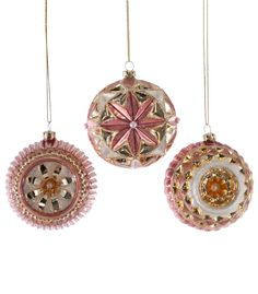 Katherine's Collection Happily Ever After Christmas Collection Twelve Assorted 80 mm Pink Sculpted Glass Ball Ornaments Free Ship Pink Christmas Ornaments, Pink Christmas Decorations, Christmas Fairy, Nutcracker Christmas, After Christmas, Vintage Ornaments, Ball Ornaments, All Things Christmas, Vintage Christmas