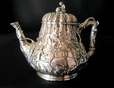 Grosjean & Woodward coin silver coffee pot, retailed by Lincoln and Foss of Boston, c1860 (Lyons antiques)