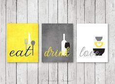 Kitchen Wall Art Print Set   Eat Drink Love   Yellow, Grey, Black, White //  Modern Kitchen Decor // Set Of (3) Many Sizes // Unframed